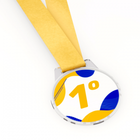 Medalha de Acrílico Resinada Acrílico Cristal 6x6cm 4x0  Corte Redondo Fita