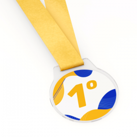 Medalha de Acrílico Laminada Acrílico Cristal 6x6cm 4x0  Corte Redondo Fita